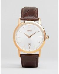 Reloj de cuero marrón de Hugo Boss