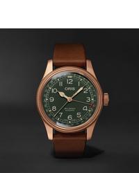Reloj de cuero marrón de Oris