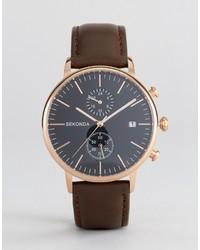 Reloj de cuero marrón de Sekonda