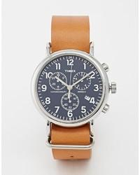 Reloj de cuero marrón de Timex