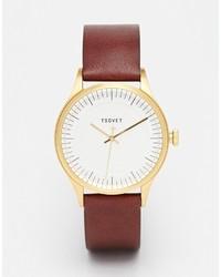 Reloj de cuero marrón de Tsovet