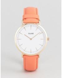 Reloj de cuero naranja de Cluse