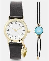 Reloj de Cuero Negro de Asos