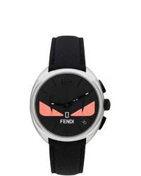 Reloj de cuero negro de Fendi