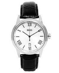 Reloj de cuero negro de Hugo Boss