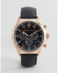 Reloj de Cuero Negro de Michael Kors
