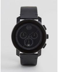 Reloj de cuero negro de Movado