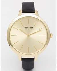 Reloj de cuero negro de Pilgrim