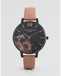 Reloj de cuero rosado de Olivia Burton
