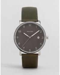 Reloj de cuero verde oliva de Skagen