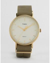 Reloj de Cuero Verde Oliva de Timex
