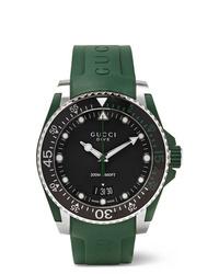 Reloj de goma verde oscuro de Gucci