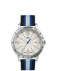 Reloj de lona de rayas horizontales en blanco y azul