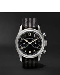 Reloj de lona de rayas horizontales negro de Montblanc