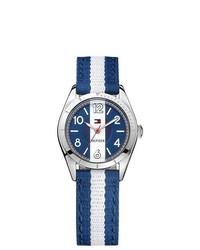 Reloj de lona de rayas verticales en azul marino y blanco
