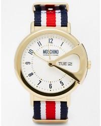 Reloj de lona de rayas verticales en blanco y rojo y azul marino de Moschino