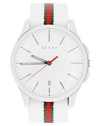 Reloj de nylon blanco de Gucci