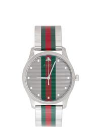 Reloj de rayas horizontales en verde y rojo de Gucci