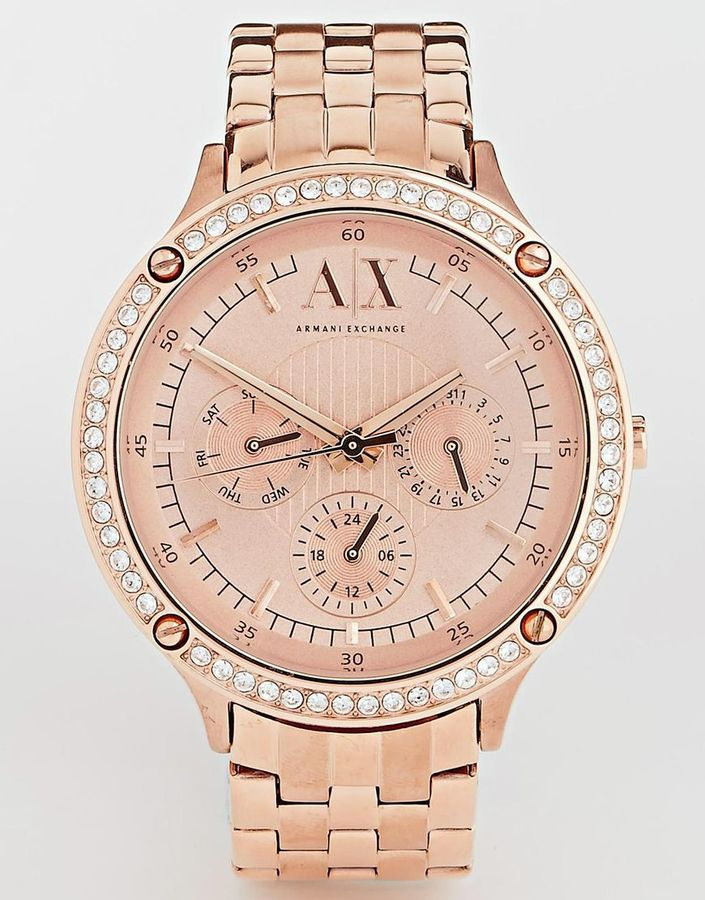 909f0a95989a ... Reloj dorado de Armani Exchange ...
