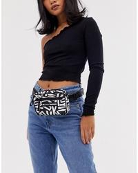 Riñonera de lona estampada negra de DKNY
