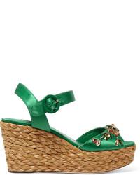 Sandalias con Cuña con Adornos Verdes de Dolce & Gabbana