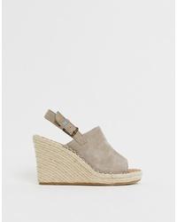 Sandalias con cuña de ante grises de Toms