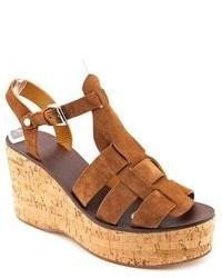Sandalias con cuña de ante marrónes