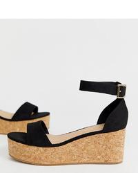 Sandalias con cuña de ante negras de New Look