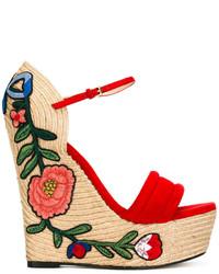 Sandalias con cuña de ante rojas de Gucci