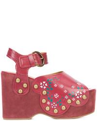 Sandalias con cuña de ante rojas de Marc Jacobs