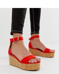 Sandalias con cuña de ante rojas de New Look