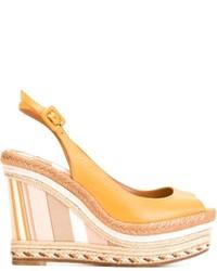 Sandalias con Cuña de Cuero Amarillas de Valentino
