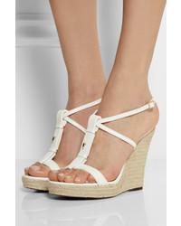 Sandalias con cuña de cuero blancas de Burberry