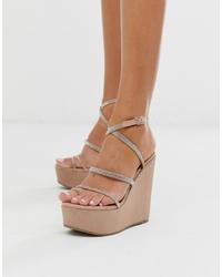 Sandalias con cuña de cuero con adornos marrón claro de ASOS DESIGN