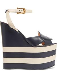 Sandalias con cuña de cuero de rayas horizontales azul marino de Gucci