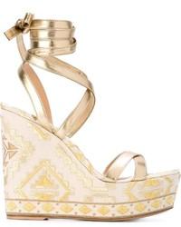 Sandalias con cuña de cuero doradas de Gianvito Rossi