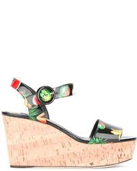 Sandalias con cuña de cuero estampadas negras de Dolce & Gabbana