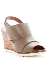 Sandalias con cuña de cuero grises