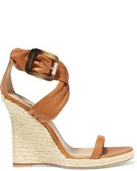 Sandalias con cuña de cuero marrón claro de Burberry