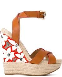 Sandalias con cuña de cuero marrón claro de Dsquared2