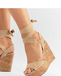 Sandalias con cuña de cuero marrón claro de Truffle Collection