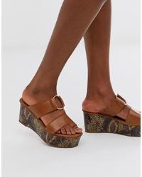 Sandalias con cuña de cuero marrónes de ASOS DESIGN