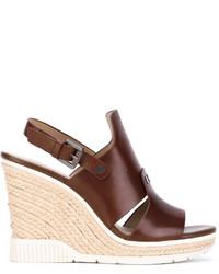Sandalias con cuña de cuero marrónes de Calvin Klein