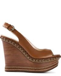 Sandalias con cuña de cuero marrónes de Casadei