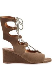 Sandalias con cuña de cuero marrónes de Chloé