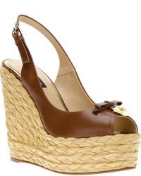 Sandalias con cuña de cuero marrónes de Dolce & Gabbana