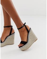 Sandalias con cuña de cuero negras de ASOS DESIGN