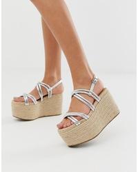 Sandalias con cuña de cuero plateadas de ASOS DESIGN