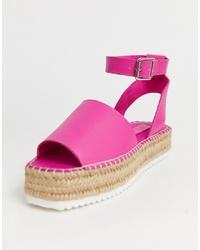 Sandalias con cuña de cuero rosa de ASOS DESIGN