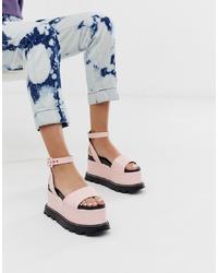 Sandalias con cuña de cuero rosadas de Lamoda
